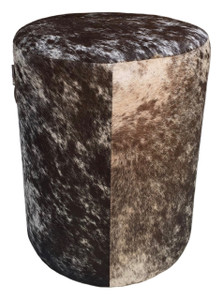 RANCH brown & white cow hide pouf with leather handle