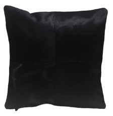 Angus square black cowhide pillow, double sided leather.