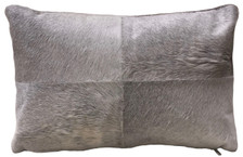 ARGO rectangular double sided grey cow hide pillow