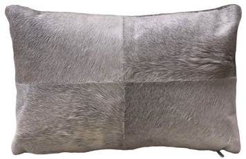 ARGO rectangular double sided grey cow hide pillow