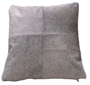 Square Grey cow hide pillow ESEL. Double sided.