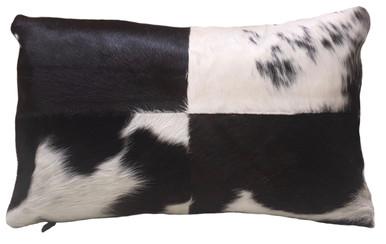 Black & White Rectangular Cowhide Pillow FRIDA