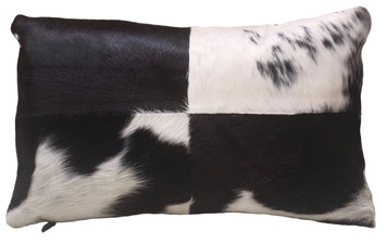 Black & White Rectangular Cowhide Pillow FRIDA