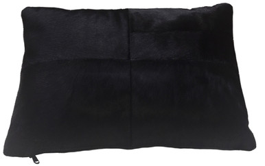 Bader rectangular black cowhide pillow, double sided leather