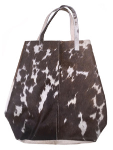 Stylish Tote Bag CARLA in Brown & White Cowhide