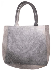 Luxurious Tote Bag DELIA in Elegant Grey Cowhide