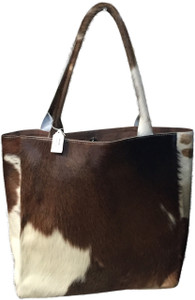Luxurious Tote Bag FRAN in Brown & White Cowhide