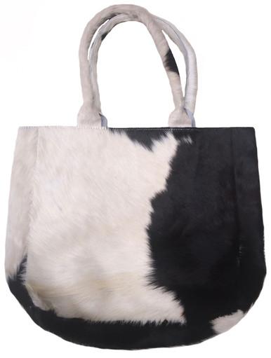 Luxurious Tote Bag HEIDI in Black & White Cowhide