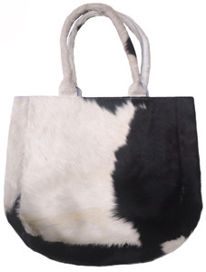 Luxurious Tote Bag HEIDI in Black & White Cowhide