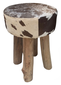 Round Stool AVA in Brown & White Cow Hide with Wood Legs