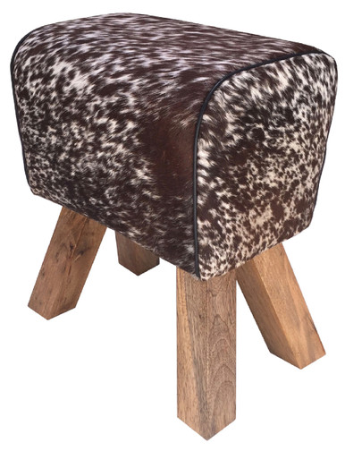 Cow Hide Stool BRAVO in Brown & White Cow Hide