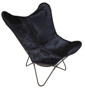 Butterfly Chair CONTESSA in Black Hide
