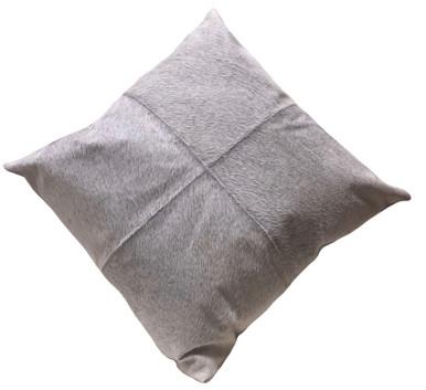 Grey Cow Hide Euro Pillow FLANNEL. Euro pillow size.