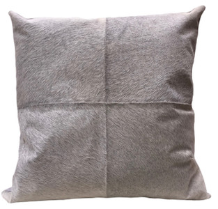 FLANNEL Grey Cow Hide Euro Pillow. Euro pillow size.