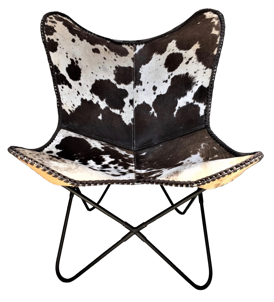Foreign Affairs Home Decor Ulla Modern Cowhide Armchair in Black and White with Silvered Base