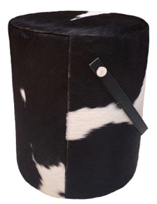 Round Pouf GRANJA in Black & White Cowhide and Leather Handle