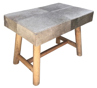 RIFT Asian Inspired Grey Cow Hide Bench with Rustic Wooden Legs.