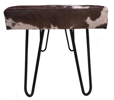 Modern Bench VIDA Upholstered in Brown & White Hide with Metal Legs