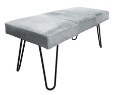 Rustic Chic Bench HARLAN Upholstered in Grey Cow Hide with Metal Legs