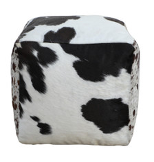 Square Cowhide Pouf TEMPO in Black & White