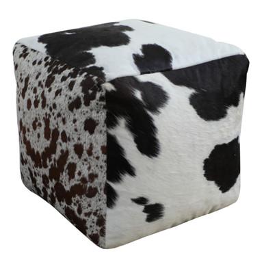 Square Cowhide Pouf TEMPO in Black & White