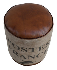 Round Canvas Pouf FRANCE topped with Brown Leather Seat