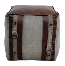 Square Canvas Leather Pouf LUCA with Leather Accents