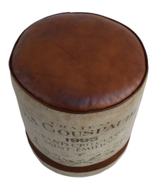 Round Canvas and Leather Pouf VINO adorned with French wine logo