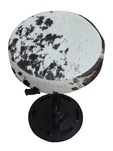 RHYS Metal Crank Bar Stool with Black & White Cowhide Seat