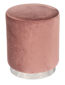 GILDA Pouf in Stylish Rose Velvet with Silvered Metal Base