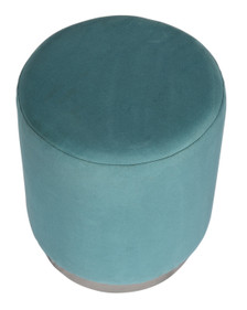 GILDA Pouf in Dusty Teal Velvet with Silvered Metal Base