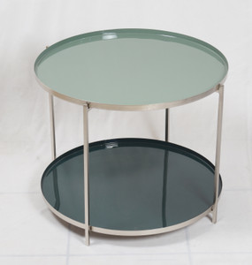 MALO Two-Tiered Enamel Accent Table