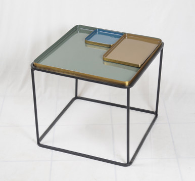 BENTO Square Enamel Side Table with Small Trays