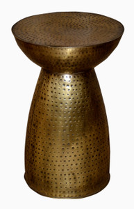 HOBBIT Mushroom Shaped Metal Accent Table in Hammered Brass.