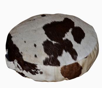 Round Floor Cushion NERO in Black & White Cowhide
