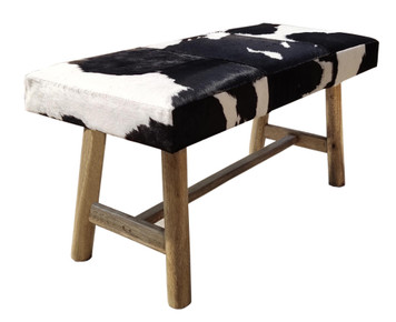PANCHO Black & White Cowhide Bench with Wooden Legs