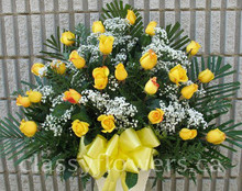 Small size sympathy arrangement with roses $69