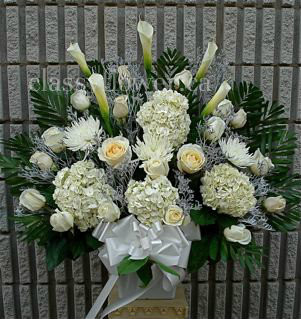 White Sympathy Arrangement With Hydrangeas And Roses Classy Flowers