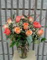 Dozen Long Stem Roses in a Vase
