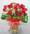 Eighteen Long Stem Red Roses in a Vase