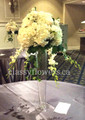 Wedding Table Centerpiece With White Mixed Flowers