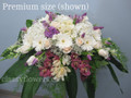 Wedding Head Table Centerpiece With White And Purple Flowers