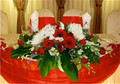 Wedding Head Table Centerpiece Red And White Flowers
