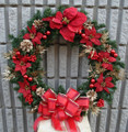 Artificial Christmas Door Wreath On Grape Vine