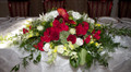 Head Table Centerpiece With Red Dahlias And Mini Calla Lilies