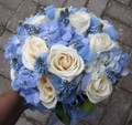 bridal bouquet blue hydrangea and ivory roses