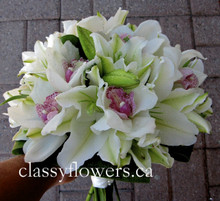 bridal bouquet with oriental lilies and cymbidium orchids