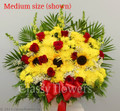 Sympathy Flower Arrangement With Red And Yellow Flowers