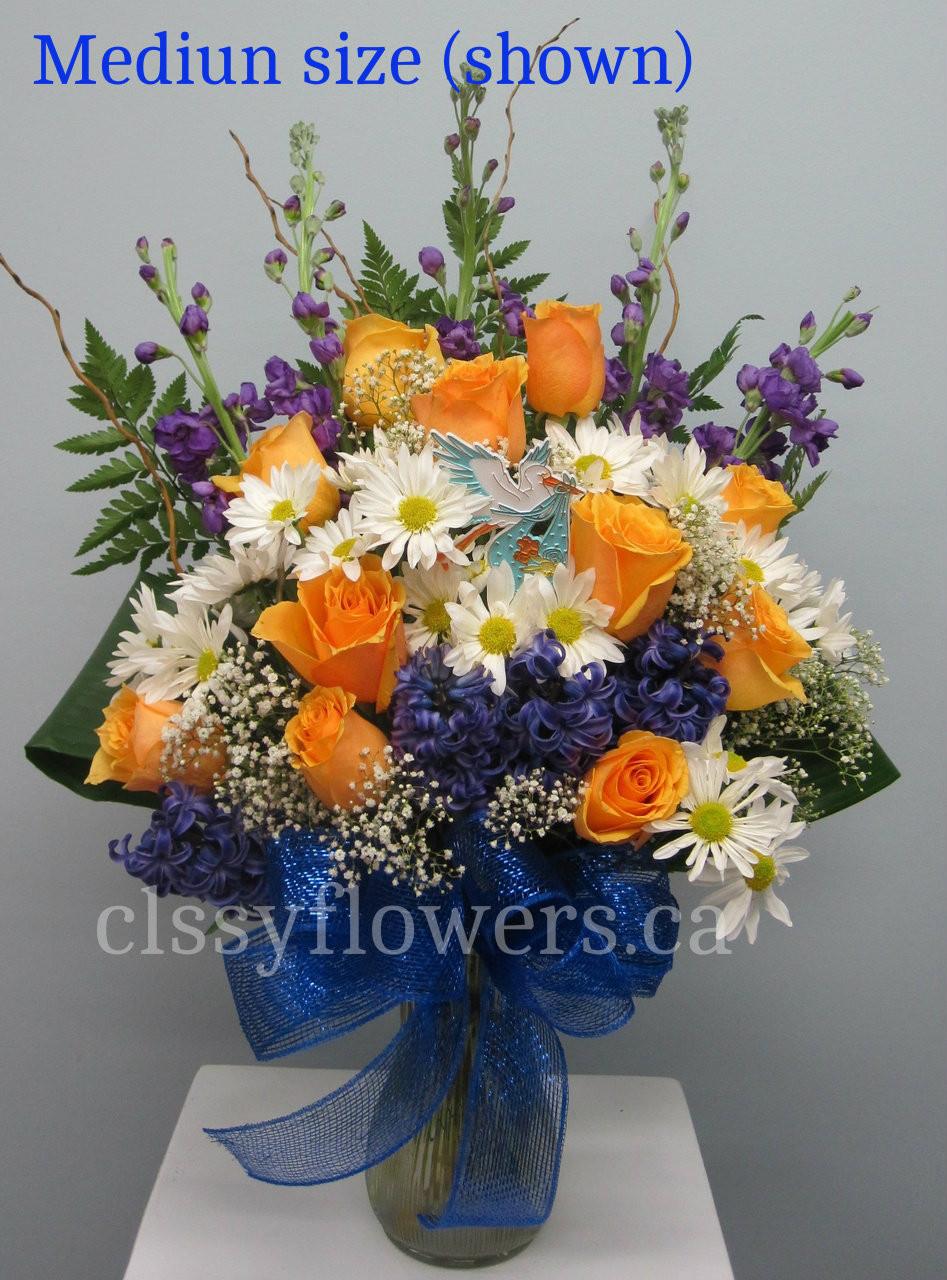 New Baby Boy Flower Arrangement In A Vase Classy Flowers