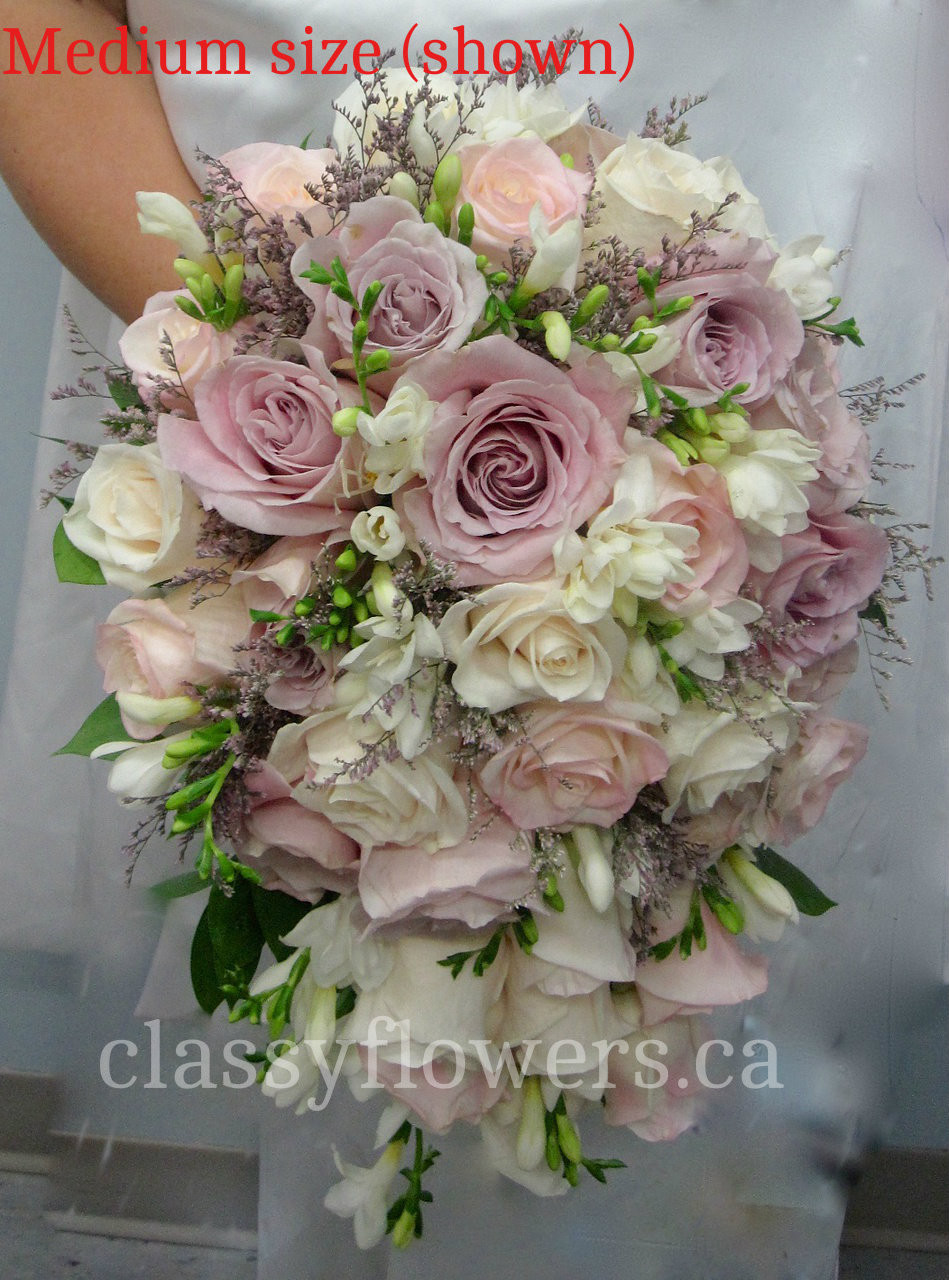 White Fresia And Blush Pink Roses Cascading Bridal Bouquet Classy